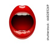 woman's open mouth with sexy... | Shutterstock .eps vector #668285269