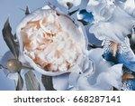 flower arrangement peonies and...   Shutterstock . vector #668287141