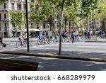 bicyclists on colorful bicycles ... | Shutterstock . vector #668289979