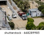 construction site with truck... | Shutterstock . vector #668289985