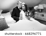loving newlyweds in a beautiful ... | Shutterstock . vector #668296771