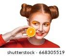 young beautiful funny fashion... | Shutterstock . vector #668305519