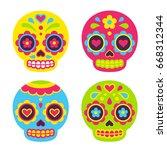 mexican dia de los muertos  day ...   Shutterstock .eps vector #668312344