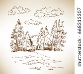 hand drawn landscape with... | Shutterstock .eps vector #668313307