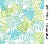 vector light tropical leaves... | Shutterstock .eps vector #668313535