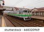 Small photo of HAKODATE, JAPAN - MAY 24, 2017: KiHa 40 837 type local train on Goryokaku station, Hokkaido Island, Japan. Is a diesel multiple unit train operated by JR Hokkaido