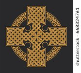 vector celtic cross. ethnic... | Shutterstock .eps vector #668324761