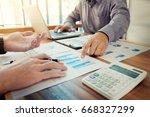 team work process. young... | Shutterstock . vector #668327299