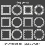 set of lace frames round and... | Shutterstock .eps vector #668329354