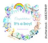 wreath  frame border from baby... | Shutterstock . vector #668329849