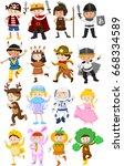 children in different costumes... | Shutterstock .eps vector #668334589