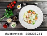 shrimp salad with parmesan... | Shutterstock . vector #668338261