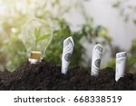 tree planting and growth up on... | Shutterstock . vector #668338519