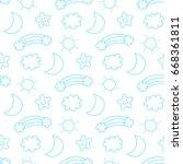 seamless sky pattern vector... | Shutterstock .eps vector #668361811