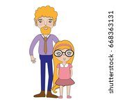 father and daugther | Shutterstock .eps vector #668363131