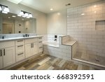Small photo of Model homes always show off beautiful bathrooms with clever design
