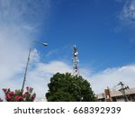 telephone tower in thailand | Shutterstock . vector #668392939