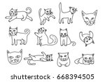 cute cat hand drawn icon vector ...