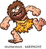 happy cartoon caveman laughing. ... | Shutterstock .eps vector #668396245