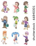 cartoon shopping girl | Shutterstock .eps vector #66840301