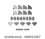 signal wifi icon vector... | Shutterstock .eps vector #668412367