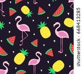 vector seamless tropical crazy... | Shutterstock .eps vector #668413285