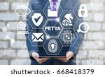 petya ransomware safety hacking ... | Shutterstock . vector #668418379