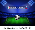 crowed of fan in football... | Shutterstock .eps vector #668422111
