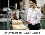 latina worker portrait in...   Shutterstock . vector #668423095