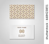 set of business card with hand... | Shutterstock .eps vector #668423851