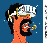 helmet of virtual reality...   Shutterstock .eps vector #668426239
