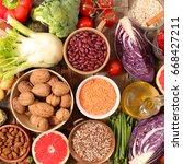healthy food concept | Shutterstock . vector #668427211