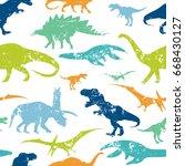 seamless  dino pattern  print... | Shutterstock .eps vector #668430127