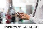 business man using smart phone... | Shutterstock . vector #668433631