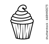 sweet cupcake icon | Shutterstock .eps vector #668440075