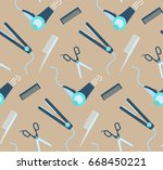 nice hairdressing tools... | Shutterstock .eps vector #668450221