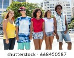 group of international young... | Shutterstock . vector #668450587