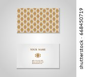 set of business card with hand... | Shutterstock .eps vector #668450719