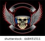 biker skull helmet wing and... | Shutterstock .eps vector #668451511