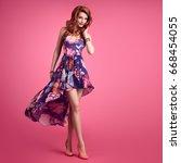 fashion sensual sexy redhead... | Shutterstock . vector #668454055