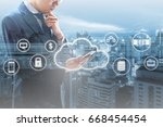 double exposure of professional ... | Shutterstock . vector #668454454