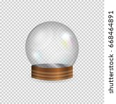 realistic glass empty snow... | Shutterstock .eps vector #668464891