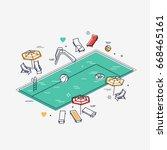 linear isometric swimming pool... | Shutterstock .eps vector #668465161