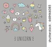 unicorn and magic. cute print | Shutterstock .eps vector #668466085