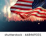 crowd of people celebrating... | Shutterstock . vector #668469331