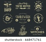 halloween 2017 party label... | Shutterstock .eps vector #668471761