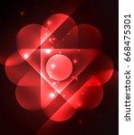 glowing geometric shapes  ... | Shutterstock . vector #668475301