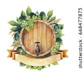 watercolor barrel of beer over... | Shutterstock . vector #668477875