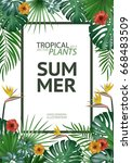 tropical palm leaves background.... | Shutterstock .eps vector #668483509