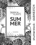 tropical palm leaves background.... | Shutterstock .eps vector #668483524